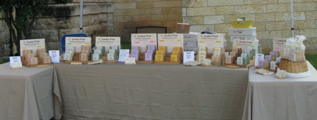 Table display with Lynda's soups.